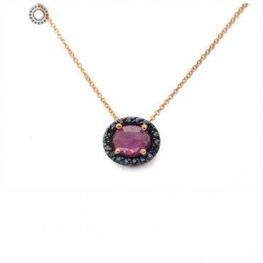 Κομψό πολύτιμο κολιέ από ροζ χρυσό Κ18 με κεντρικό οβάλ ροζ ζαφείρι & μικρά πράσινα διαμάντια περιμετρικά   Δαχτυλίδια ΤΣΑΛΔΑΡΗΣ στο Χαλάνδρι #οβαλ #ζαφειρι #διαμαντια #χρυσο #κολιε