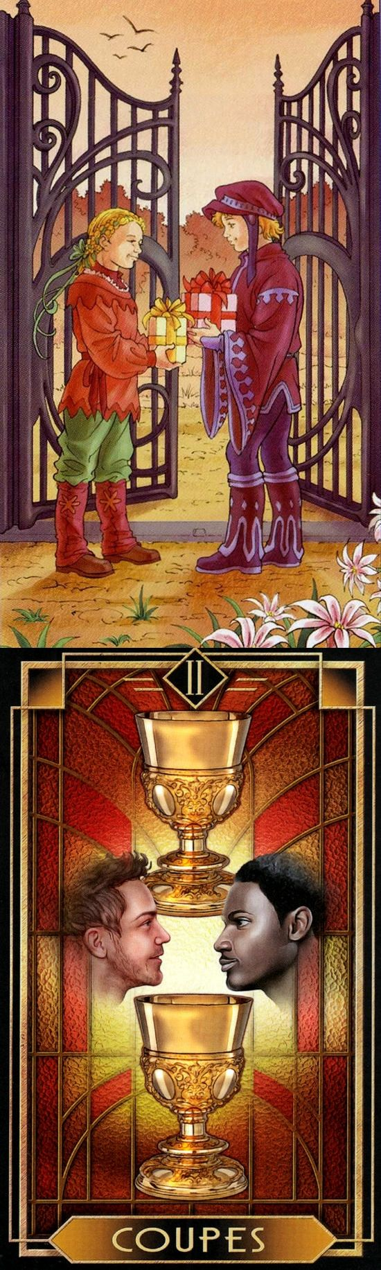 Two of Cups: sex and tension (reverse). 78 Doors Tarot deck and Decoratif Tarot deck: free tarot predictions, quick tarot reading and tarot cards explained. Best 2017 cartomancy meanings playing cards and gothic art. #androidapp # #magician #hangedman #ritual