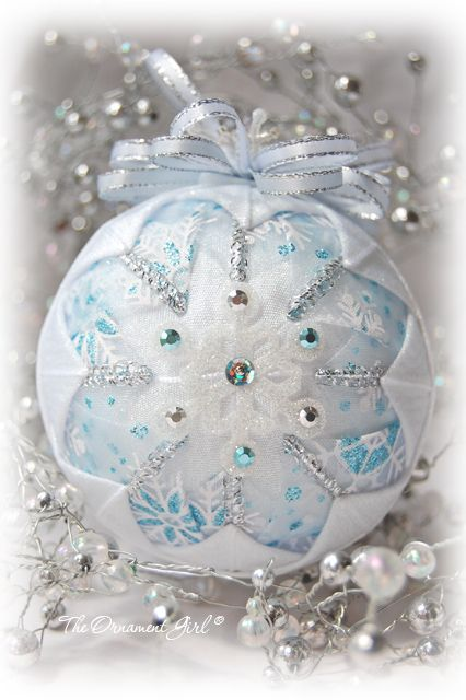 quilted ornament | blue and silver Christmas decorations