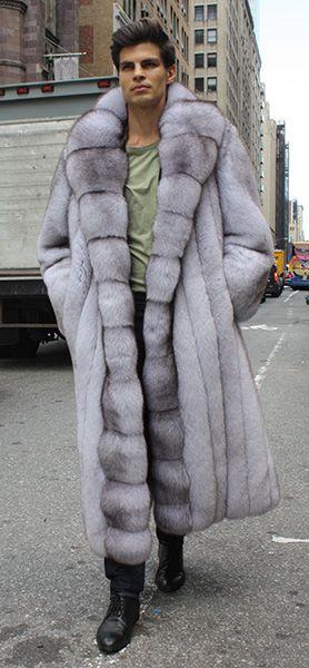 Men's Full Length Blue Fox Fur Coat…