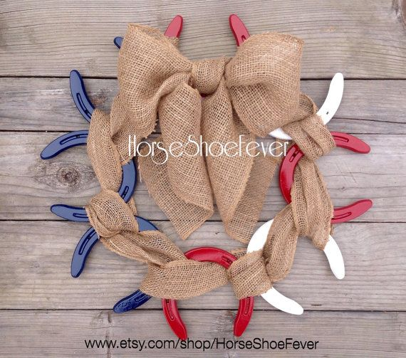 Patriotic Burlap Horseshoe Wreath.  Western, America, Red White & Blue, 4th of July, Etsy, Horseshoes, Cattle, Military, Holidays, Burlap, Wedding Decor, Custom, Western, Cowgirl, Vinyl, Farmhouse, Lodge, Cabin, Ranch, Restaurant