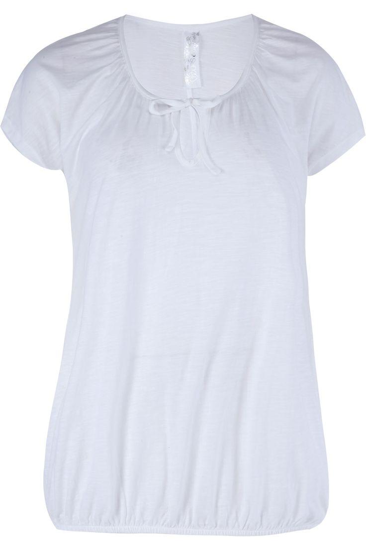 White Plain Basic Gypsy T-shirt With Bubble Hem