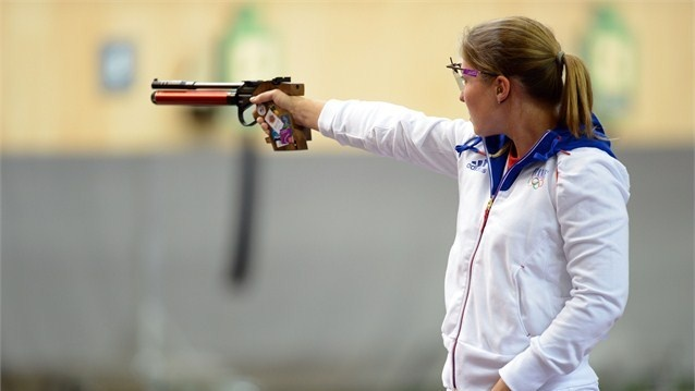 Celine Goberville of France competes in the final round of the women's 10m Air Pistol Shooting on Day 2 of the London 2012 Olympic Games at The Royal Artillery Barracks.