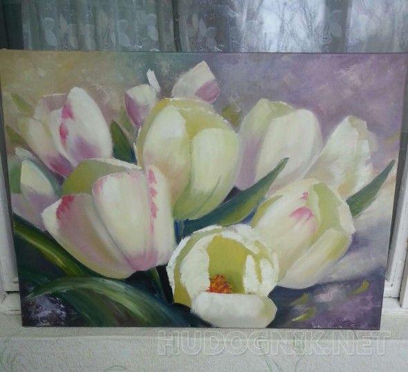 Тюльпаны картина маслом на раме 50*70