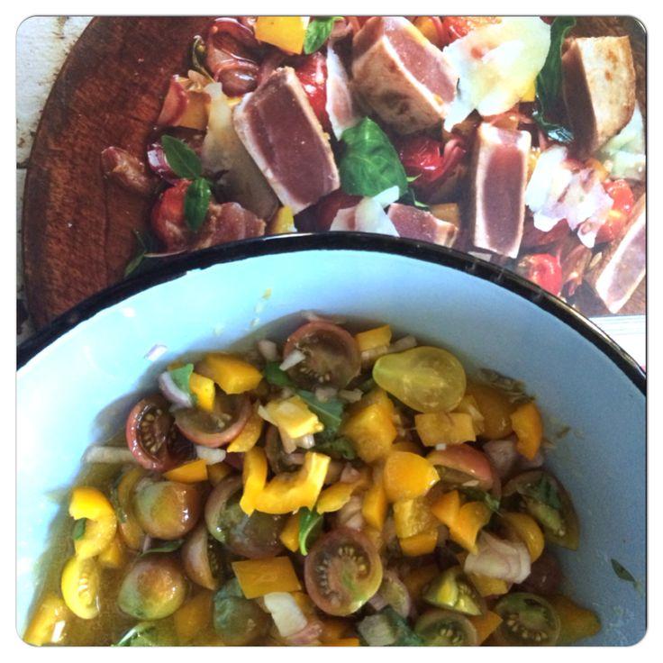 Seared tuna salad in the making...