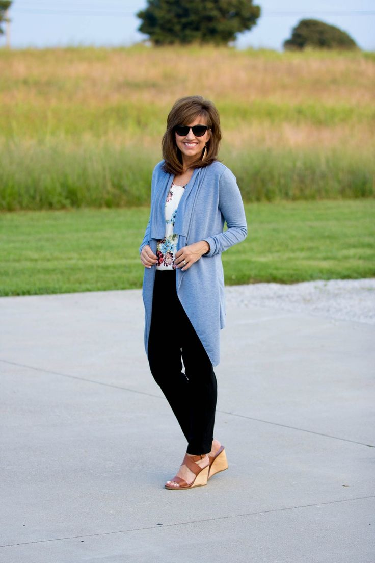This top is a beautiful summer piece that will transition into fall with a favorite cardigan or denim jacket. I added this blue cardigan that will be perfect for early fall.