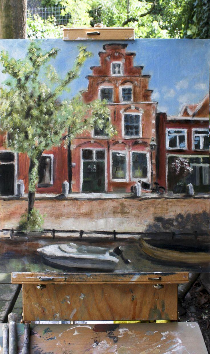 Plein air schilderen van atelier Haarlem. Voor de folder van de expositie atelier Haarlem een plein air schilderij gemaakt van mijn huis (Philip Wouwerman)