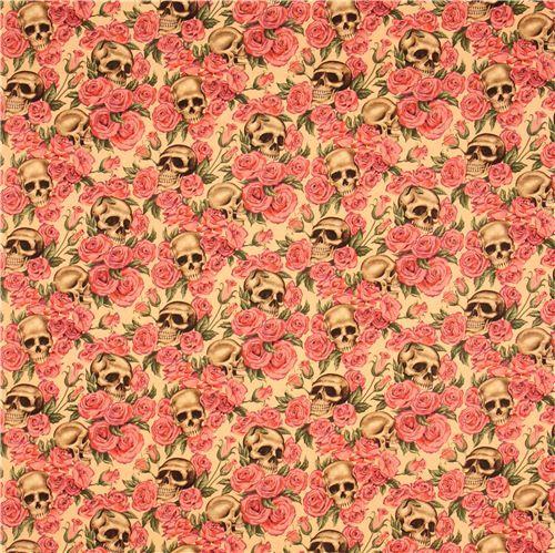 beige Alexander Henry roses and skulls fabric 3