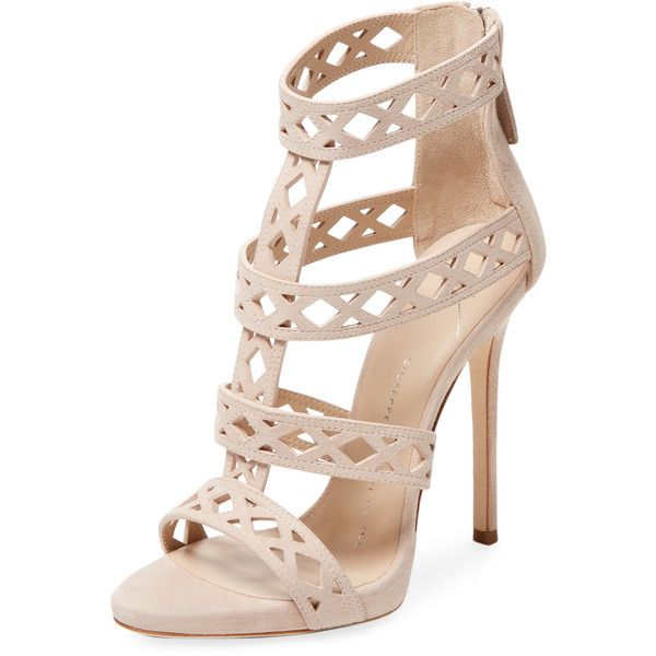 Giuseppe Zanotti Women's Leather Strappy High Heel Sandal - Cream/Tan,... ($375) ❤ liked on Polyvore featuring shoes, sandals, cream heeled sandals, leather heeled sandals, strappy leather sandals, leather strap sandals and strap sandals