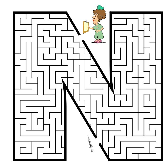 Free Printable Maze of the letter N