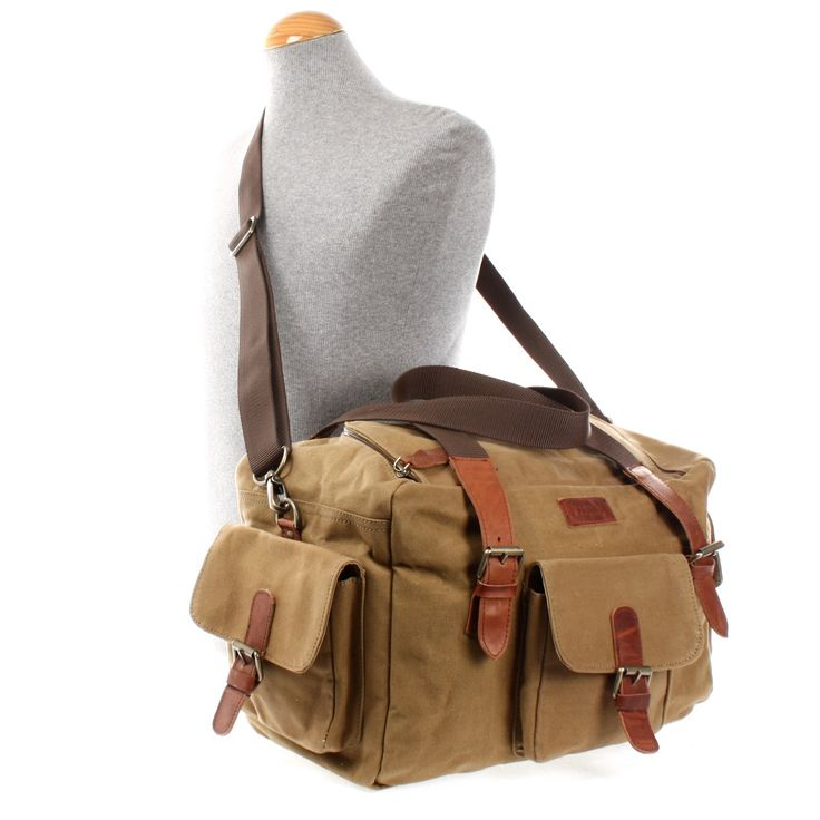 LECONI kleiner Weekender Handgepäck Sporttasche Damen Herren Leder Canvas khaki LE2016