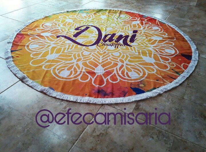 Canga redonda personalizada   @efecamisaria ##modapraia #Canga #saídadepraia #verão #summer #beach #beachwear ##tropical #cangaredonda #Mandala #efecamisaria #Instagram #vempraefe
