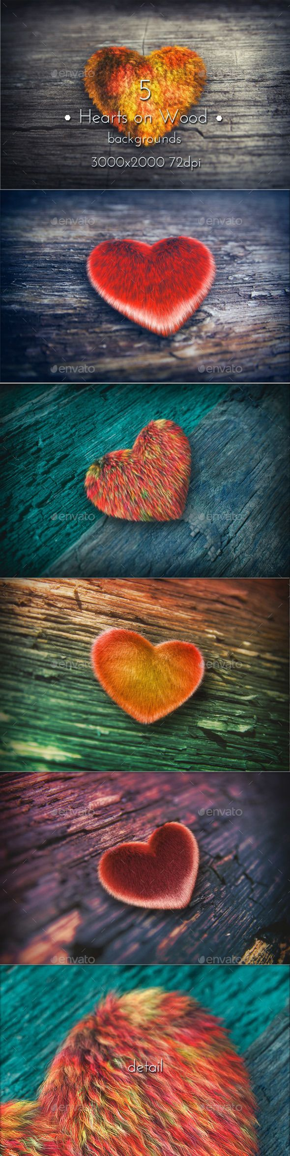 Hearts on Wood. Hearts on Wood Valentine Collection Backgrounds. 5 JPG images. 3000×2000 (3:2 format), 72 DPI. #hearts #valentine #love #design #graphicriver