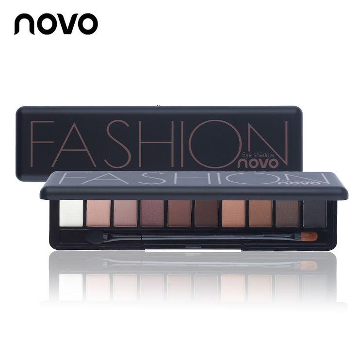 1 ST Matte Shimmer Natuurlijke Mode Oogschaduw Maken Licht oogschaduw cosmetica set met borstel 10 kleuren novo oogmake-up palet