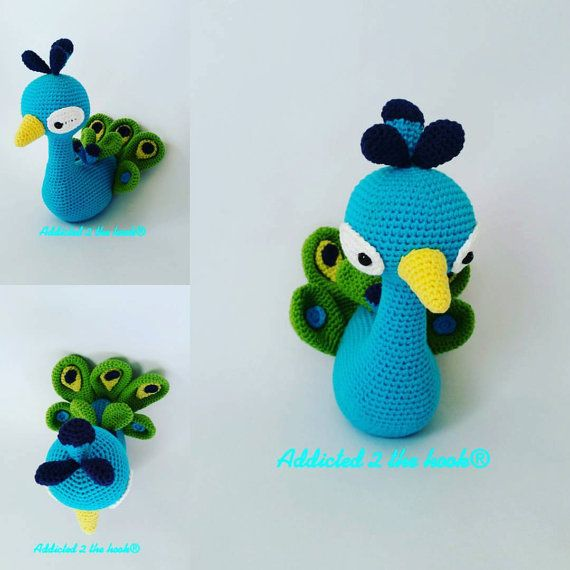 Peacock Amugurumi Toy Christmas by Addicted2theHook on Etsy