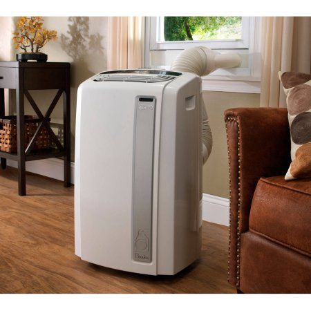 DeLonghi Pinguino PAC-AN140HPEWC Whisper Quiet 14,000 BTU Portable Air Conditioner with Heat Pump and BioSilver Air Filter, White