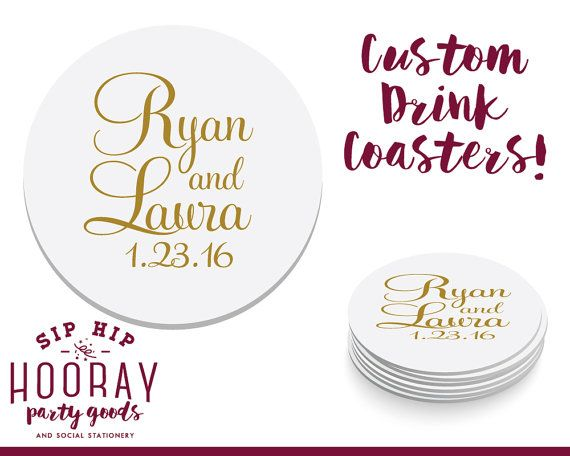Wedding Coasters Wedding Favors Personalized Drink Coasters Drink Coasters Custom Coasters Monogrammed Coasters Wedding Coasters 1397 by SipHipHooray