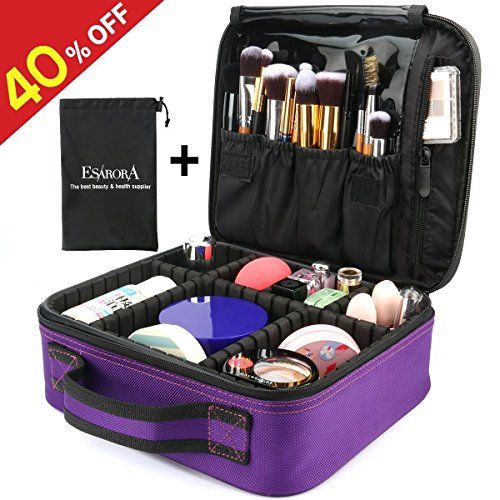 Makeup Bag, ESARORA Portable Travel Makeup Cosmetic Case Organizer Artist Storage Bag with Adjustable Dividers for Cosmetics Makeup Brushes Toiletry Jewelry Digital Accessories (Purple). For product & price info go to:  https://beautyworld.today/products/makeup-bag-esarora-portable-travel-makeup-cosmetic-case-organizer-artist-storage-bag-with-adjustable-dividers-for-cosmetics-makeup-brushes-toiletry-jewelry-digital-accessories-purple/