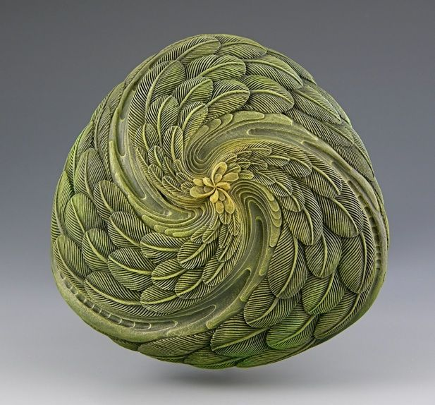 """Jacques Vesery Zen-Art Sculpture. Jacques works in wood, striving to create an illusion of reality. Although nature as inspiration seems obvious, Jacques' vision begins with the way nature is repeated within the the """"golden mean"""" or """"divine proportions"""". His inspiration comes from pattern and form more than actuality itself."""