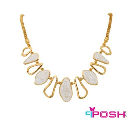 """Morgan - Necklace  - Fashion necklace - Gold toned with snake chain - Ivory coloured enamel coated abstract shapes (1.18"""" length) - Lobster clasp closure with 2.36"""" extender - Dimension: 19.69"""" length  POSH by FERI - Passion for Fashion - Luxury fashion jewelry for the designer in you.  #networking #direct #sales #fashion #designer  #brand #onlineshopping #workingfromhome #necklace #accesories"""