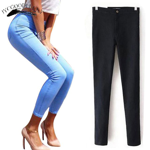Check it on our site White Jeans Female 2017 Skinny Elastic Jeans For Women Black High Waist Jeans Woman Slim Denim Women Jeans Femme With High Waist just only $12.36 - 14.31 with free shipping worldwide  #womanjeans Plese click on picture to see our special price for you