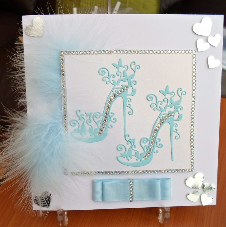 An example of a card made with Tattered Lace Shoe Dies