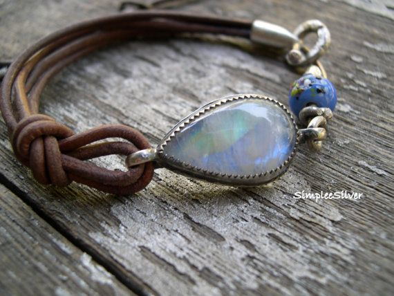 Artisan Jewelry - Leather Bracelet - Moonstone Bracelet - Casual Bracelet - SimpleeSilver Jewelry - Rustic Bracelet  I have set this gorgeous