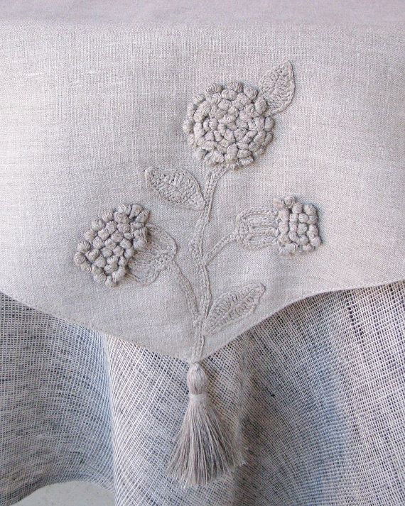 Natural grey linen table runner decorated with by daiktuteka