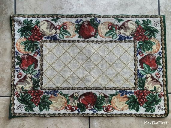 Traditional Tapestry Placemat with Fruit Motif  1 Piece- Found at an Estate Sale  Woven   Size: Place mats 19 x 12.5  *Condition: Excellent, clean with no snags, holes or stains