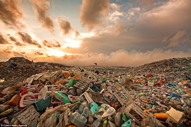 Miles of litter: Thilafushi is an artificial island in the Maldives where about 400 tonnes...