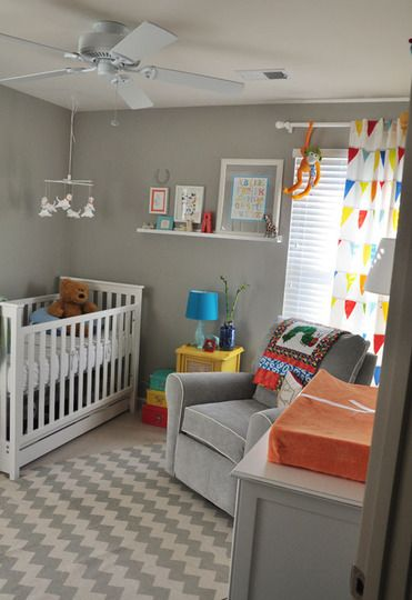 """super cute nursery with great gray paint color - Sherwin Williams """"Mindful Gray"""""""