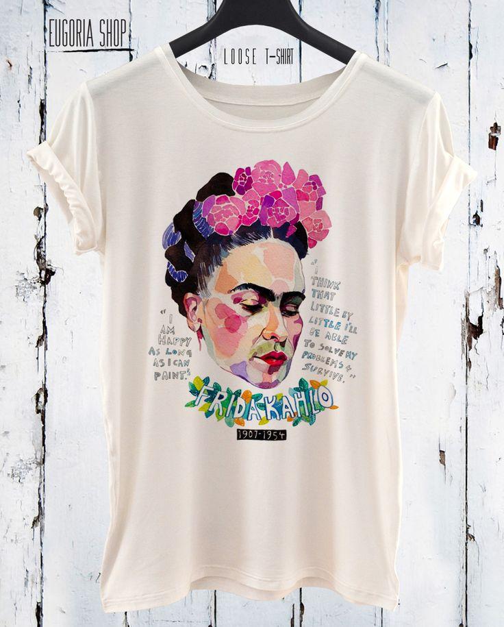 Frida Kahlo Pop Art T-Shirt, Printed Tee, Loose White Tshirt by EugoriaShop