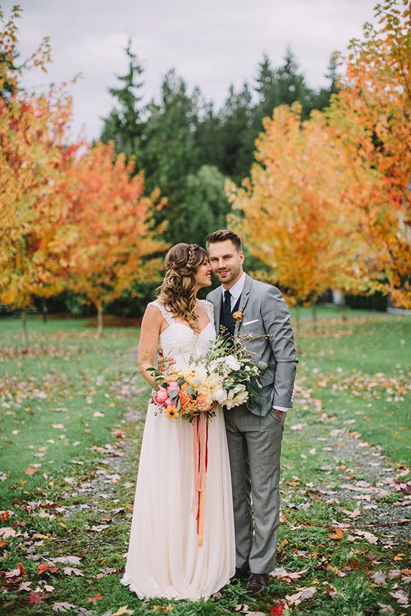 Gorgeous Wedding Portraits Surrounded by Fall Foliage | Danaea Li Photography and A Day to Remember Events | Romantic Vintage Botanical Wedding Shoot at a Rustic Winery