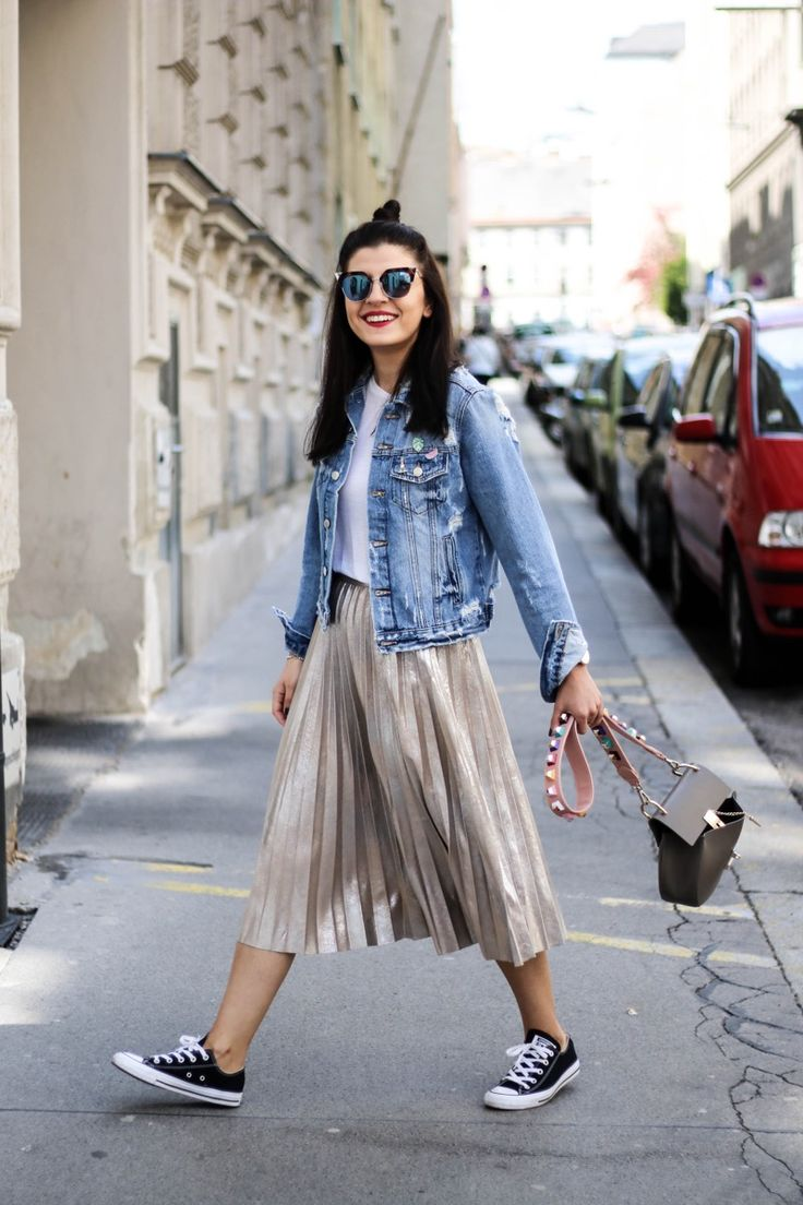 Metallic Pleated Skirt | Denim Jacket | Fendi Lookalike Bag Strap | Fendi Iridia Sunglasses | Fashionnes