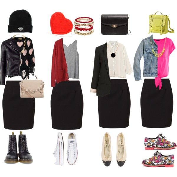 how to wear a simple black skirt by mk-vogue on Polyvore featuring moda, Monki, La Garçonne Moderne, Wildfox, H&M, Topshop, J.Crew, Vero Moda, Dr. Martens and Converse