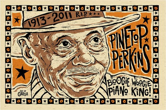 Pinetop Perkins digital folk art poster by Grego by MojohandBlues, $10.00