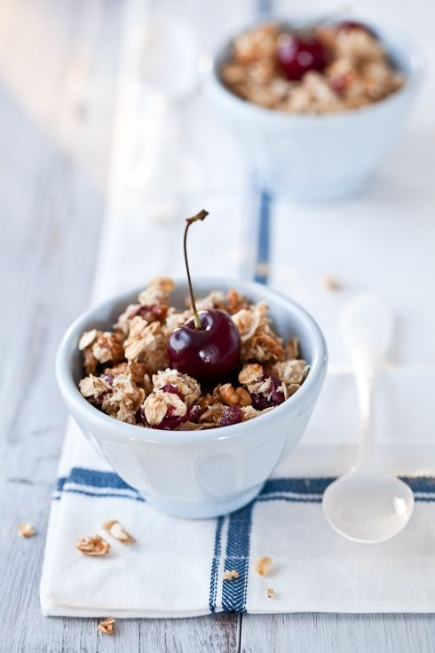 Pecan Coconut Cherry Granola - AMAZING! Very sweet, could decrease the ...