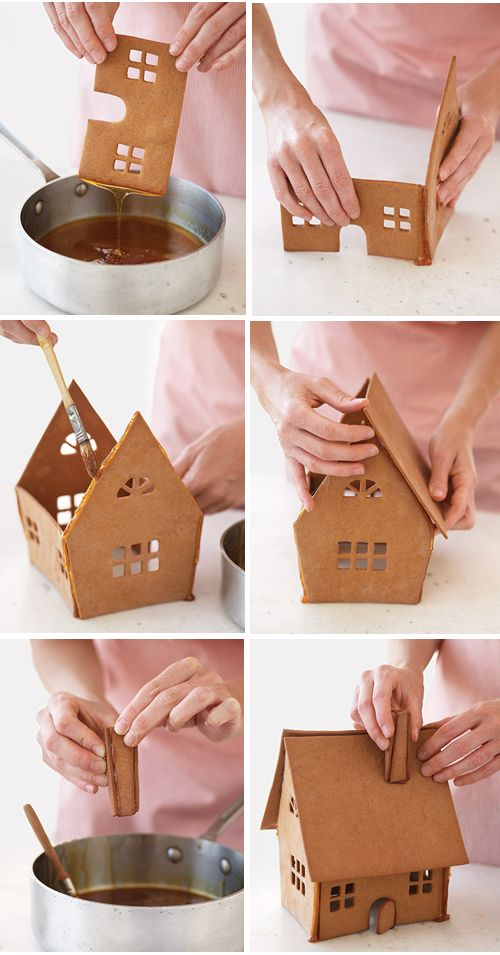 I need to run the page through a translator, but there a lots of gingerbread house ideas including using caramel instead of frosting for mortar!