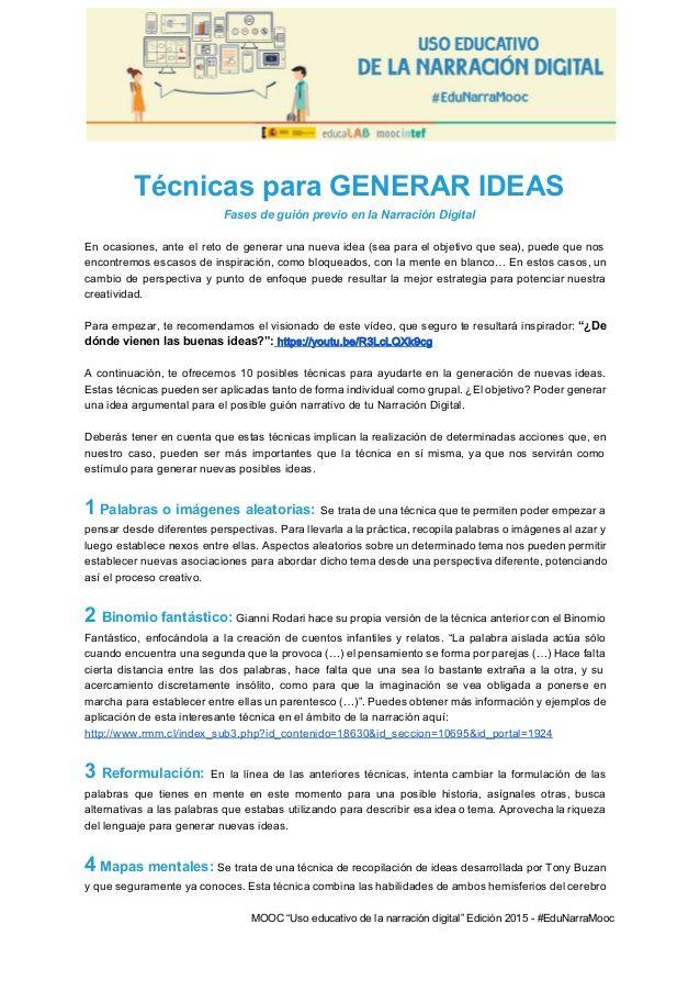 TécnicasparaGENERARIDEAS FasesdeguiónprevioenlaNarraciónDigital  En ocasiones, ante el reto de generar u...