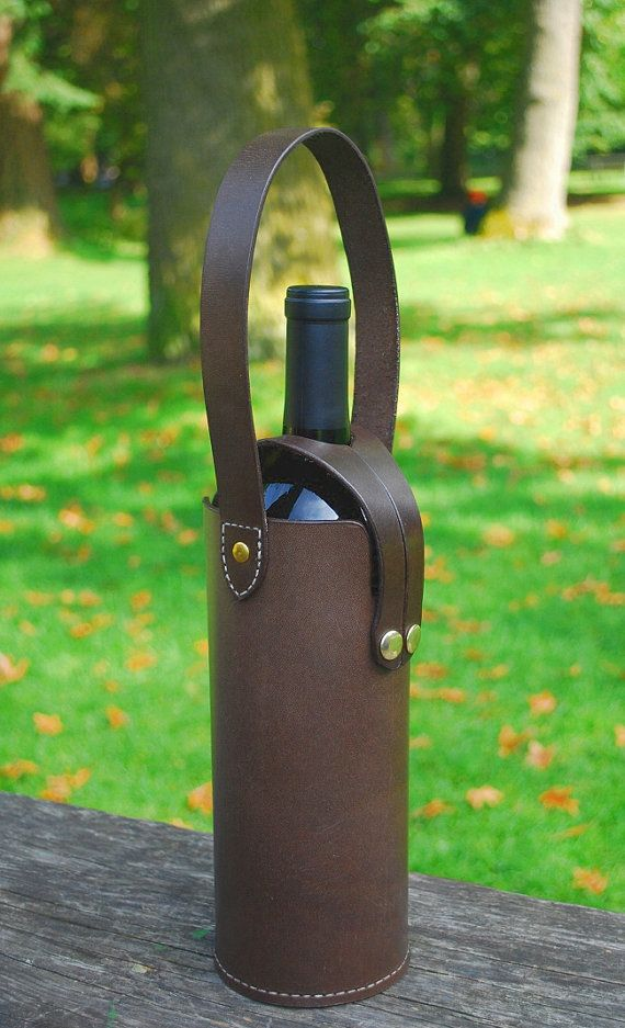 Leather Wine Bottle Tote by JMcMahonDesigns on Etsy, $42.00