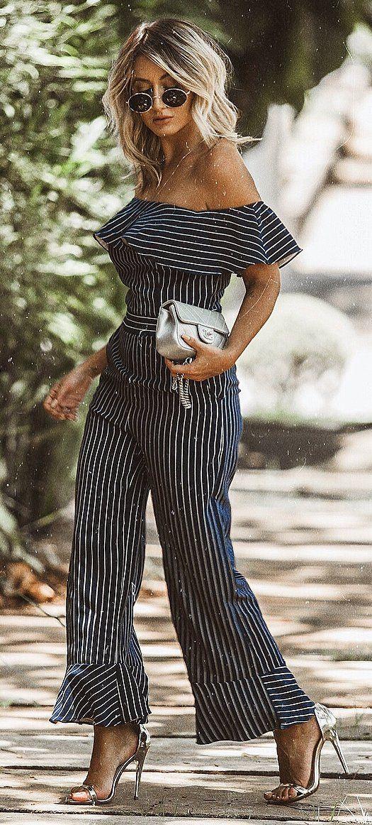 summer outfit inspiration / stripped off shoulder jumpsuit + bag + heels