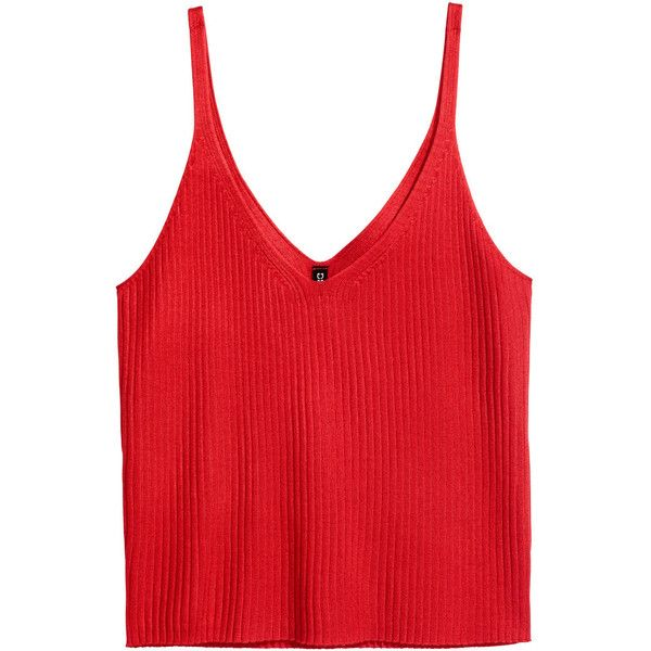 Rib-knit Tank Top $12.99 (47 ILS) ❤ liked on Polyvore featuring tops, tank tops, v neck tank, red singlet, ribbed knit tank, red top and rib tank