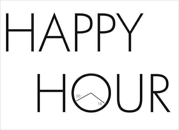Sticker Happy Hour, en lettrage adhésif, personnalisable avec vos horaires.