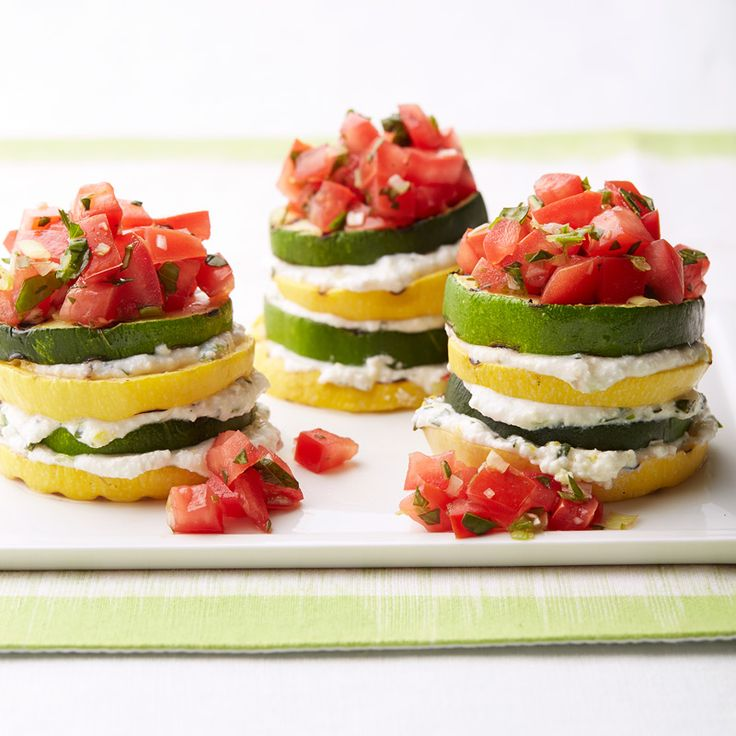 Grilled Summer Squash Stacks with Herbed Ricotta