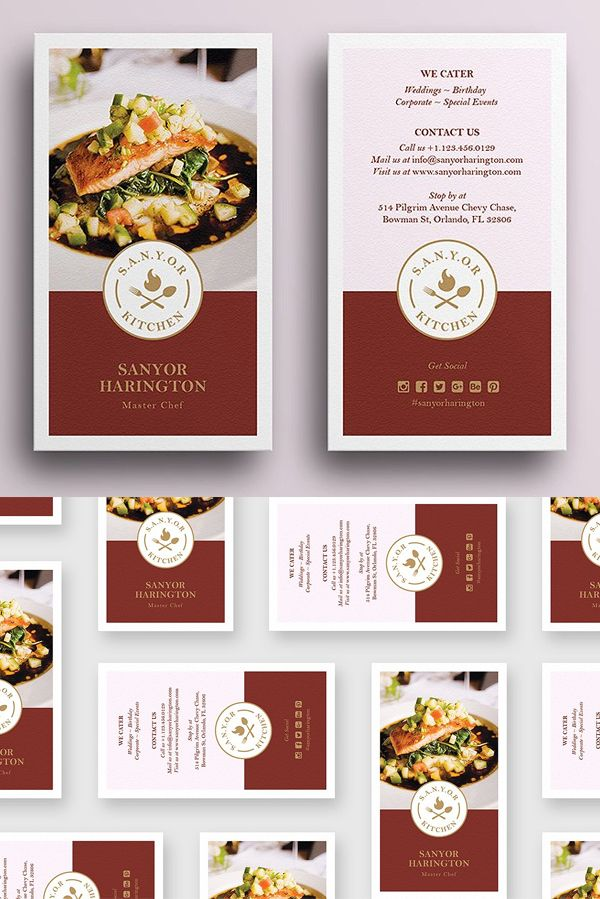 Elegant Food Business Card Food Business Card Restaurant Business Cards Free Business Card Templates