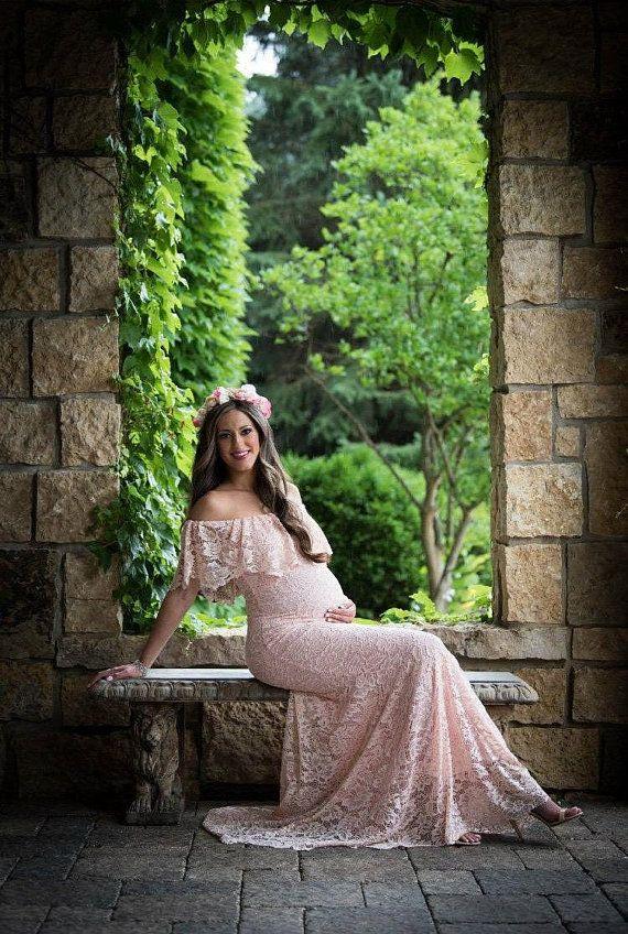 619af28290 DALIA Lace Maternity Dress for Baby Shower