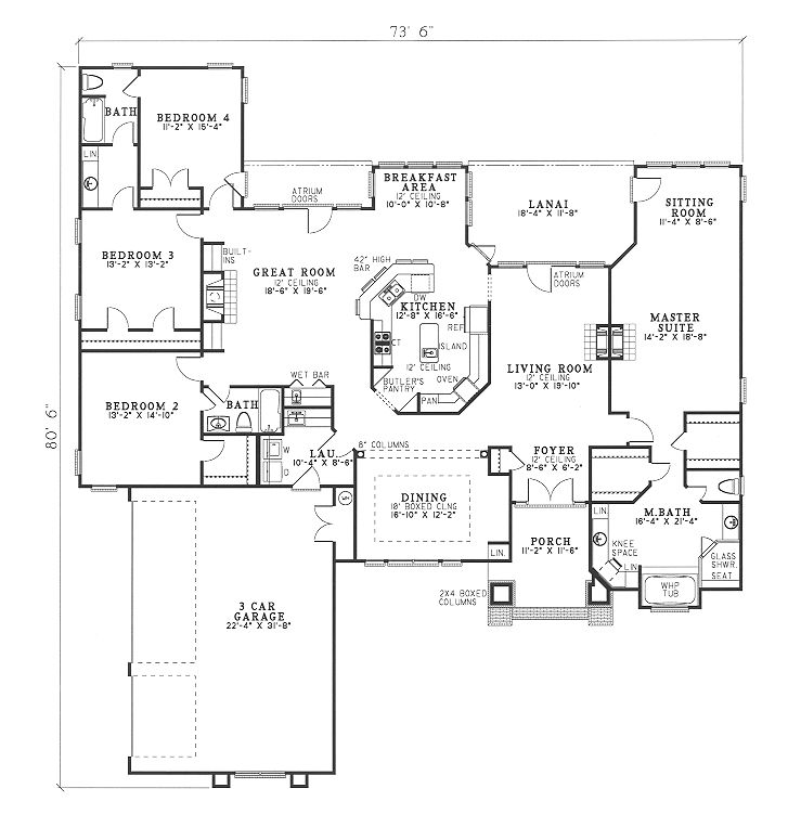 4 bed 3 bath open concept ranch 2951 sq ft family for Open concept ranch home designs