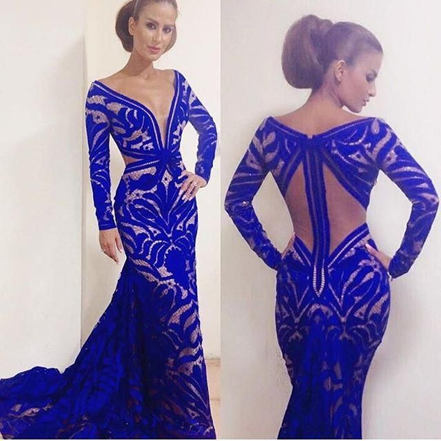 3594da882c Custom Made Mermaid Royal Blue Formal Evening Dresses V-Neck Long Sleeve  Backless Floor-Length Prom Gowns