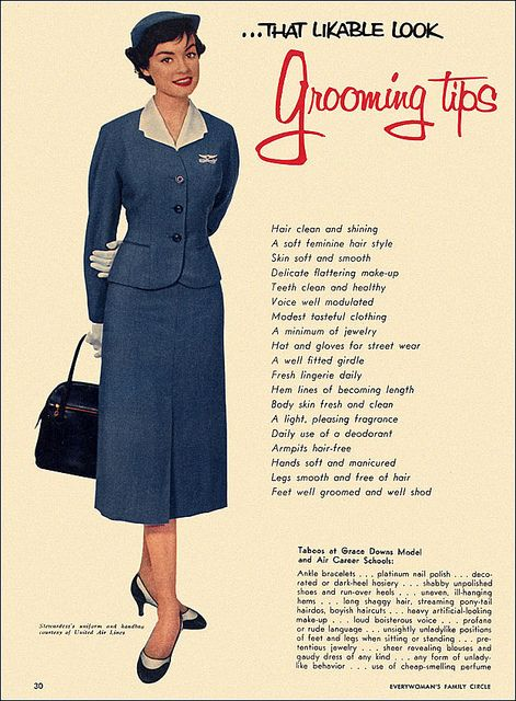 Grooming Tips, c1957    As she set down the dinner tray of asparagus and Swiss Pie, Beth's gaze met La Contessa's. Both knew their lives would never be the same...    From Everywoman's Family Circle.