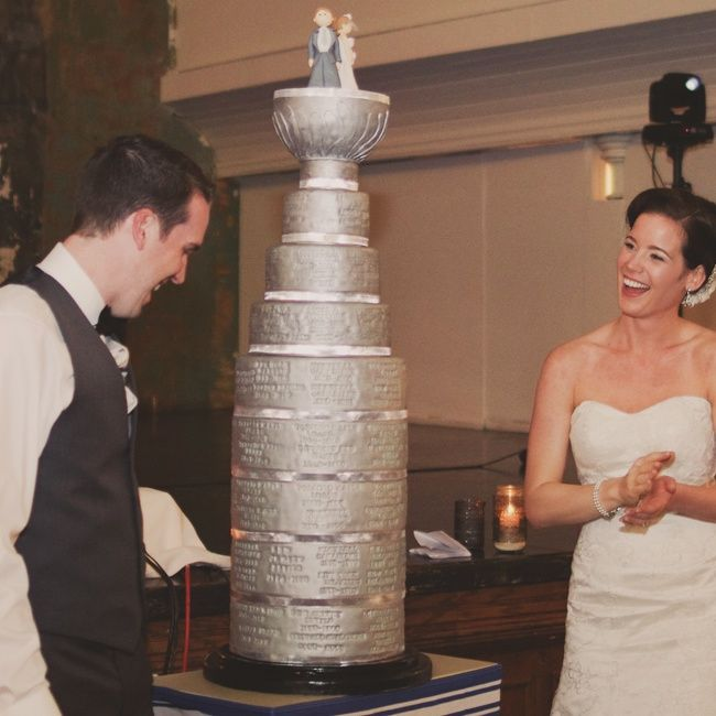 Stanley Cup Cake // photo by: Nikki Mills //  Cake: Emmazing Cakes // http://www.theknot.com/weddings/album/a-whimsical-wedding-in-toronto-on-141206